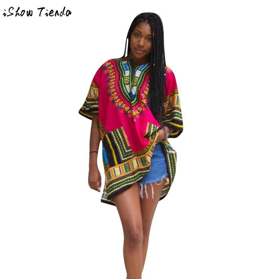 Traditional african clothing women hot pink loose dashiki for women