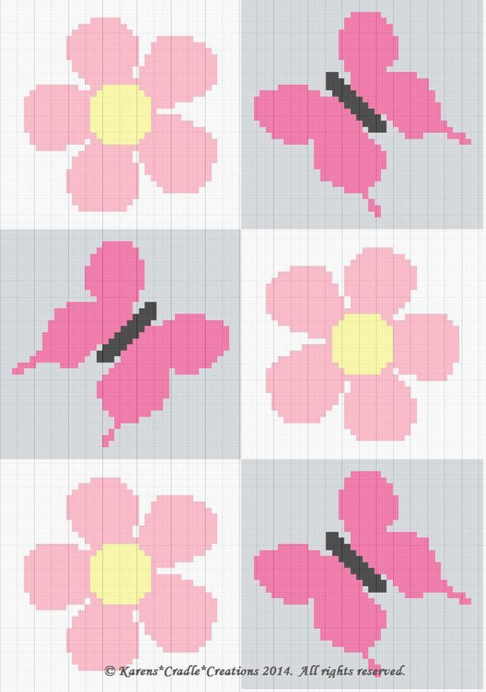 Crochet Patterns - BUTTERFLIES and DAISIES Baby Afghan Pattern *EASY ...