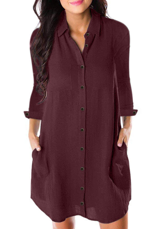 Burgundy Crepe Button Long Sleeve Down Dress Shirt Shirt Dress Designer Dresses Casual Burgundy Long Sleeve [ 1500 x 1001 Pixel ]