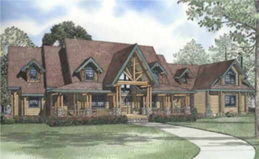 Log Cabin House Plans color rendering. | For the Home | Pinterest ...