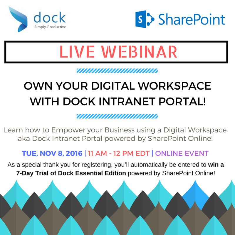 LIVE WEBINAR - Own your Digital Workspace with Dock Intranet Portal!   Sajin Sahadevan   Pulse   LinkedIn