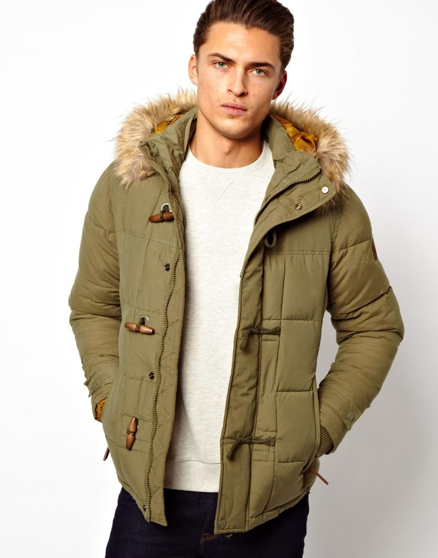 Pull&ampBear | Pull&ampBear Parka With Faux Fur Hood In Khaki | Parka