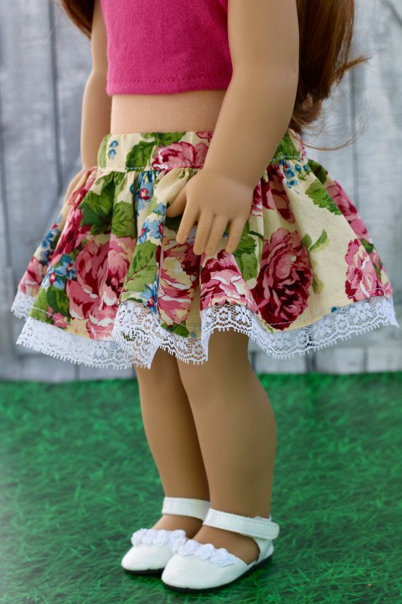Doll Clothes | Trendy Yellow Floral and Lace SKIRT for 18 Inch Dolls ...