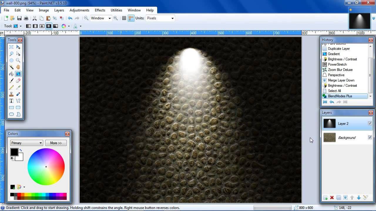 Paint Net Wall Light Effect