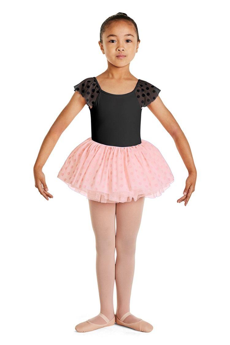 93a2f1be2038 Kids Polka Dot Mesh Flutter Sleeve Ballet Dance Leotard by Mirella in Black  #M110C