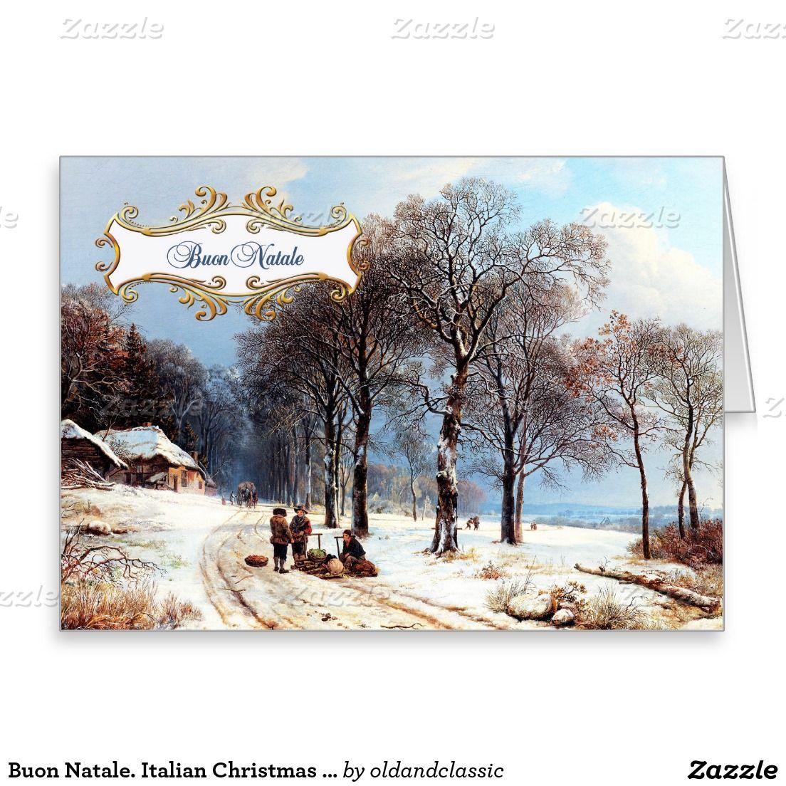 Buon natale customizable christmas greeting card in italian customizable christmas greeting card in italian winter christmas scene lithograph by kristyandbryce Images