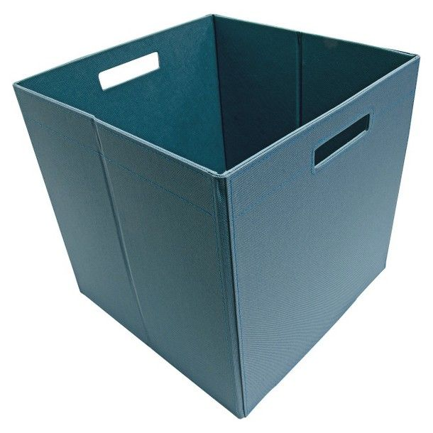 Superbe ITSO Large Knocked Down Fabric Bin   Set Of 4   Teal