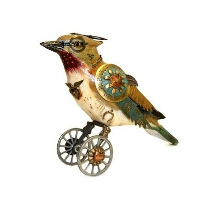 Jim Mullan | Altered Junk Art | Steampunk bird, Found object