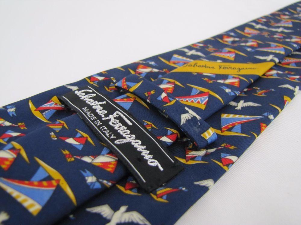 SALVATORE FERRAGAMO Tie Navy Blue Seagulls Sailboats Surfboards Flags Whimsical #SalvatoreFerragamo #Tie