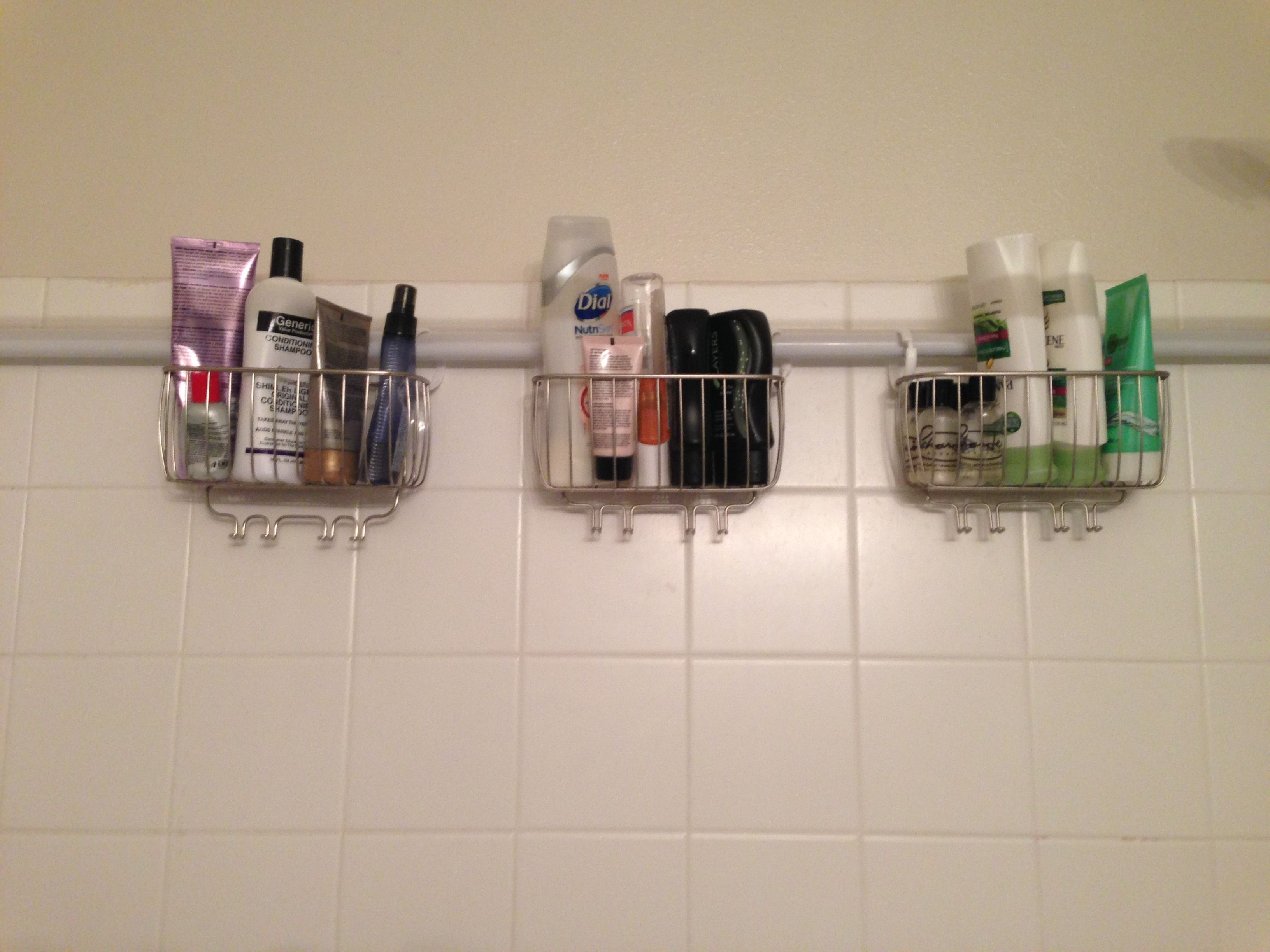 Shower organization. Curtain rod, Walmart shower wire baskets ...