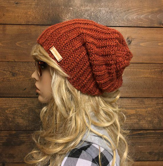 cute quality top fashion UNISEX Ribbed Crochet Slouch Beanie / SLACKER / pumpkin SPICE ...
