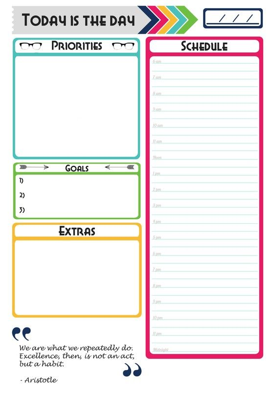 Made My Own Daily Planner Page Free Download For Anyone Who Would