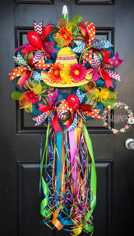 Fiesta Sombrero Wreath 2018 San Antonio Vibrant And Colorful