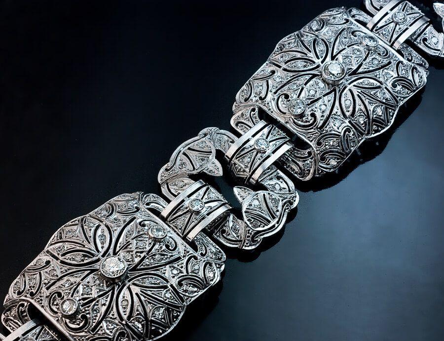 Art Deco 1920s Vintage Wide Platinum Diamond Bracelet Antique