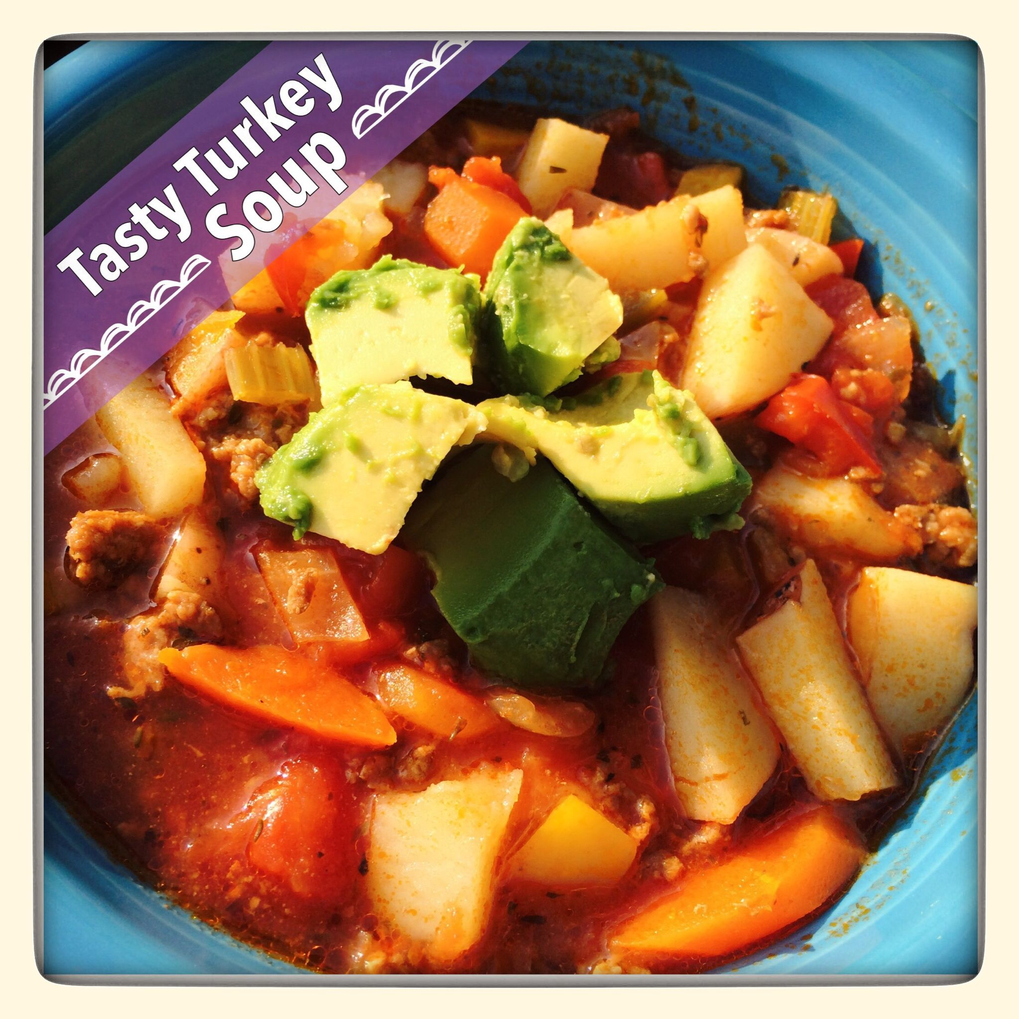 This Turkey Soup was a huge hit with my family. I'd say it's a cross between a hearty chilli or a hamburger stew. The beauty of this recipe is that you can add or omit any veggies you choose. By the way, I think zuchinni, corn, or even mushrooms would be nice additions next time I make this soup.