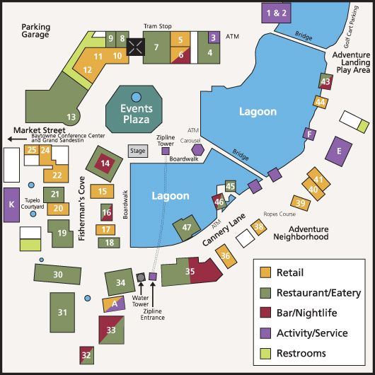 Silver Sands Outlet Map Sandestin Village of Baytowne Wharf Map   | Destin, FL