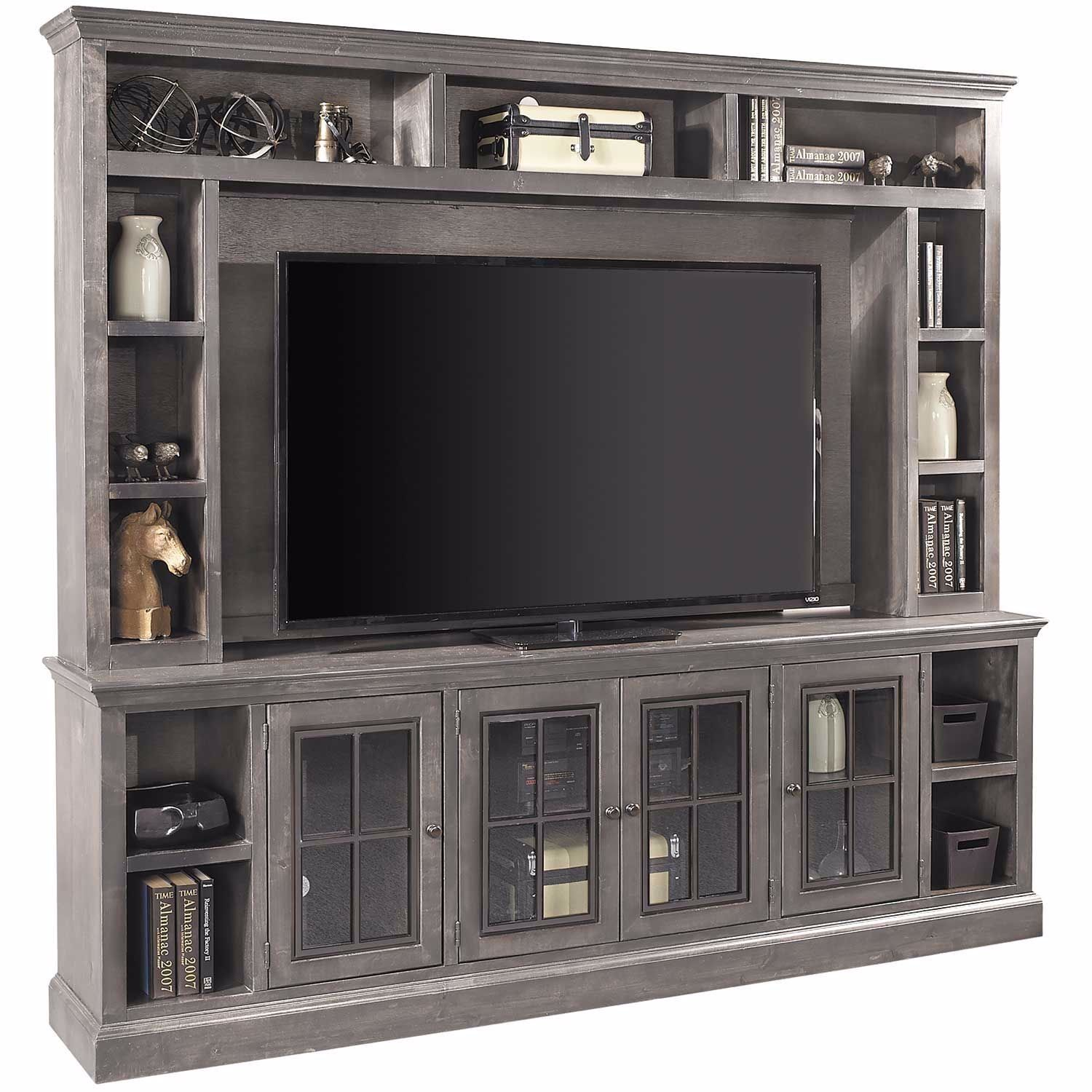 Churchill Gray 96 Inch Wall Unit In 2020 Fireplace Entertainment Center Modern Entertainment Center Wall Entertainment Center