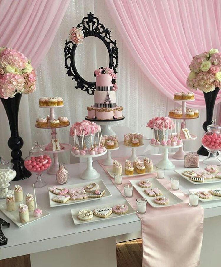 Mesa de postres para baby shower de princesa cumple flor for Como decorar mesa de postres para baby shower