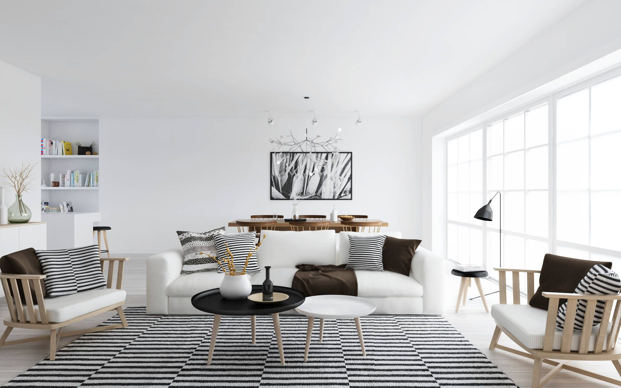 Magnificent Decoration Of Scandinavian Style Interior Design By White Sofa And Striped Cushions Also Wooden Wohnzimmer Design Wohnzimmerdesign Innenarchitektur