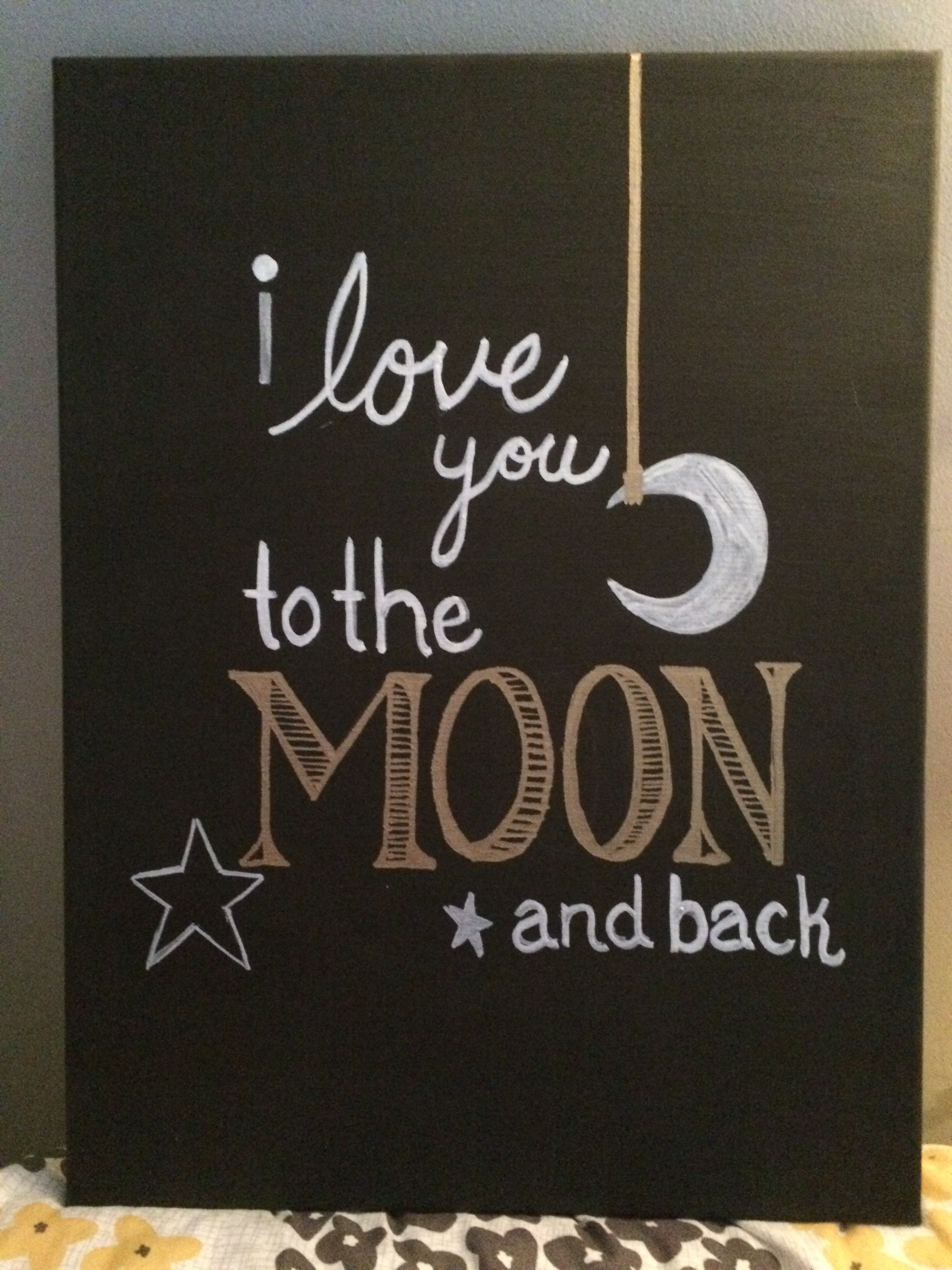 Painting Done On Canvas I Love You To The Moon And Back - Black canvas painting ideas