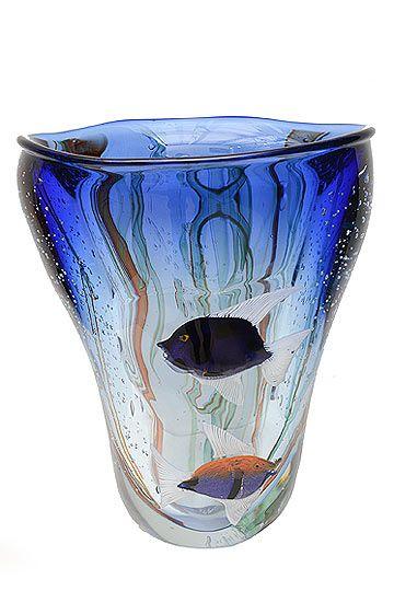 Murano Art Glass Vase with Fish Signed Silvano Signoretto