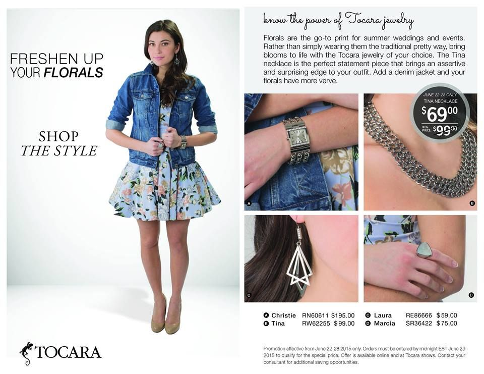Bring your floral prints to life with a denim jacket and the Tina Necklace! #‎tocara