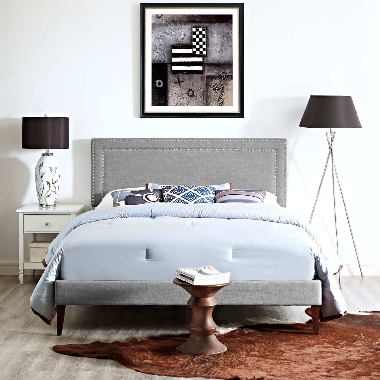 Modway Furniture 5647 Light Gray Queen Fabric Platform Bed