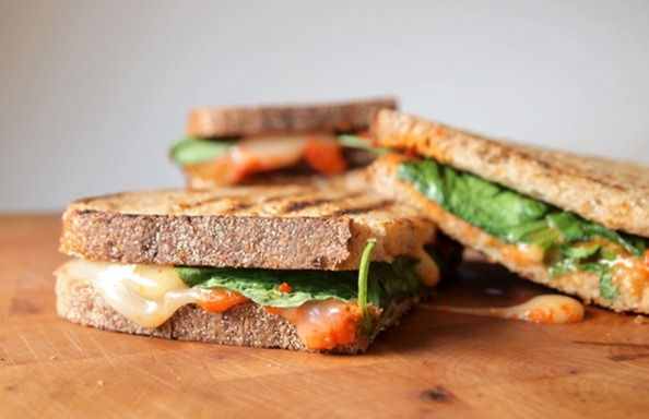Grilled Cheese with Arugula & Roasted Red Pepper Spread [Thinly Sliced Cucumber]