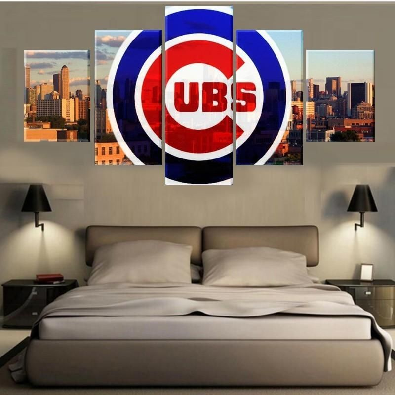 Chicago Cubs MLB Baseball 5 Panel Canvas Wall Art Home Decor ...
