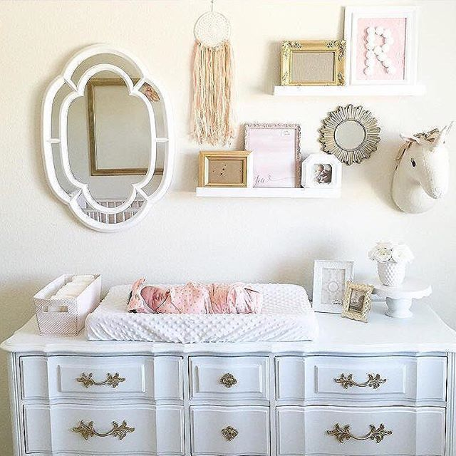 Picture frames on dresser ;) Baby girl room, Nursery