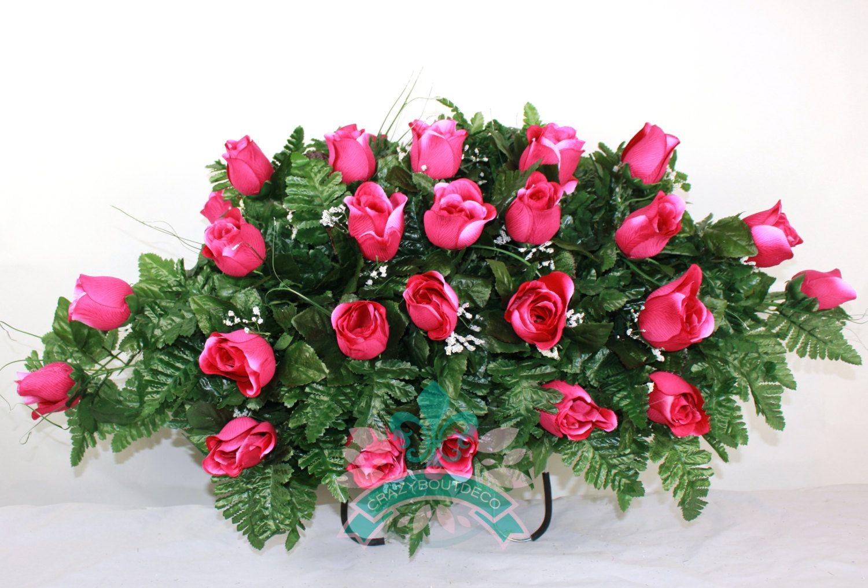 Xl Hot Pink Roses Silk Flower Cemetery Tombstone Saddle Arrangement