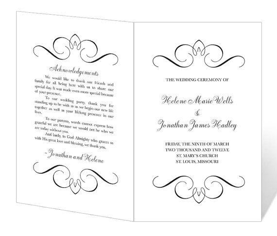 INSTANT DOWNLOAD Flourish Wedding Program Template by
