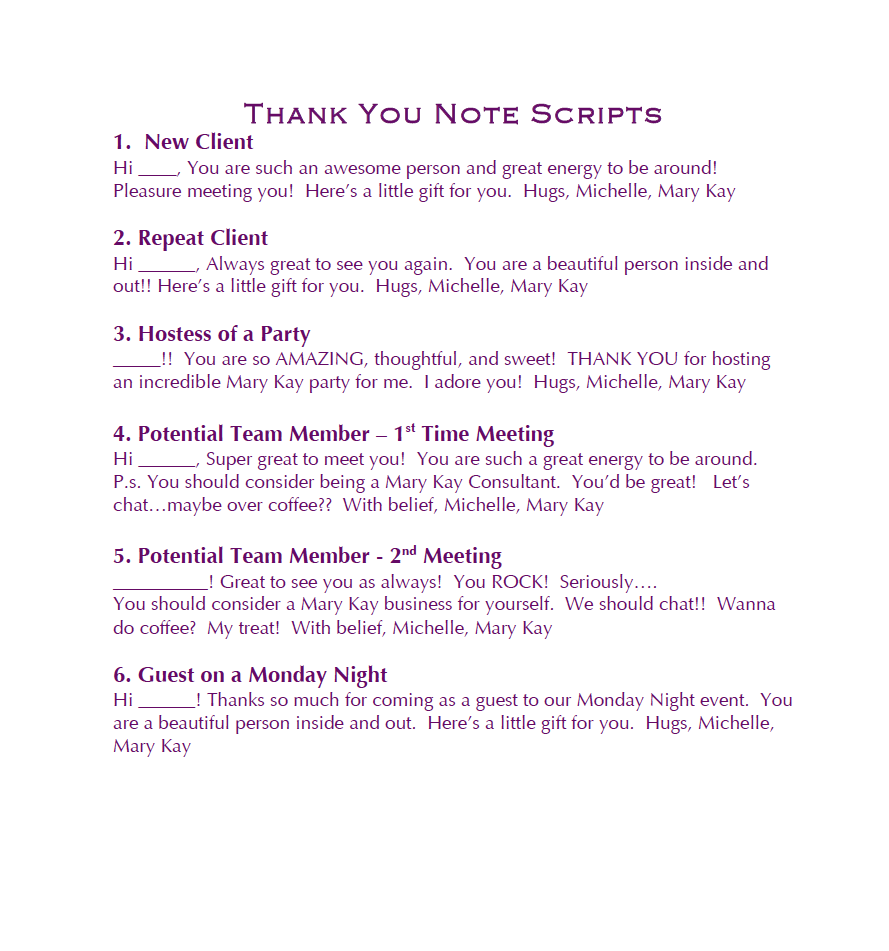 Thank You Scripts Mary Kay Business