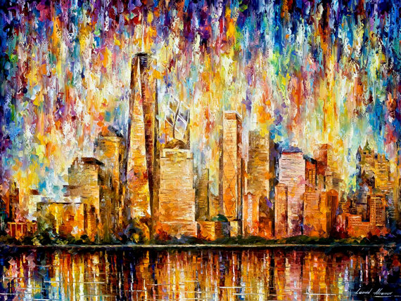 Large Cityscape - New York — Palette Knife America  Wall Art Oil Painting On Canvas By Leonid Afremov.