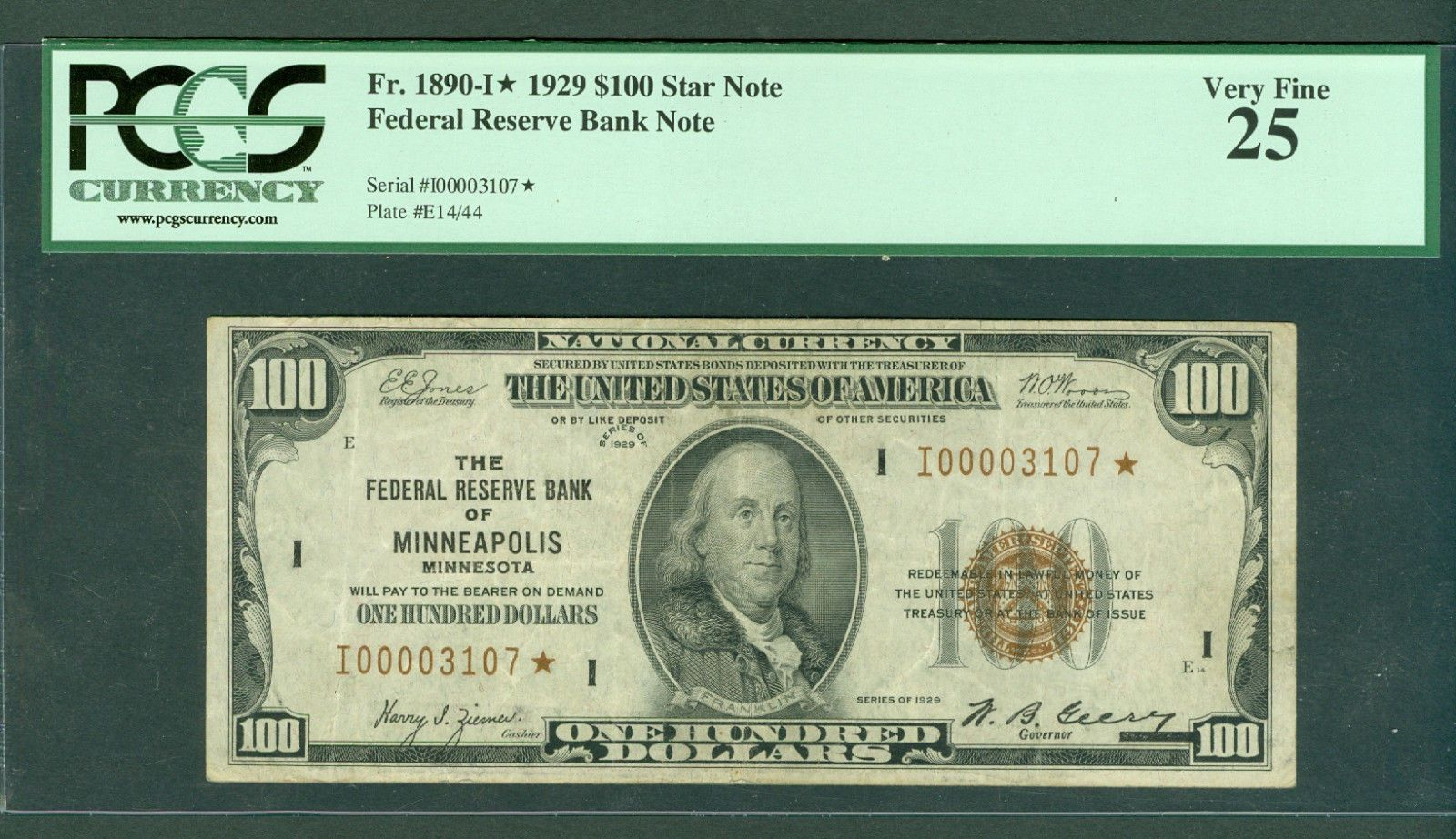 awesome FR#1890* 1929 $100 RARE 4 DIGIT FRBN MINNEAPOLIS STAR NOTE BEAUTY PCGS-VF 25!!!   Check more at http://harmonisproduction.com/fr1890-1929-100-rare-4-digit-frbn-minneapolis-star-note-beauty-pcgs-vf-25/