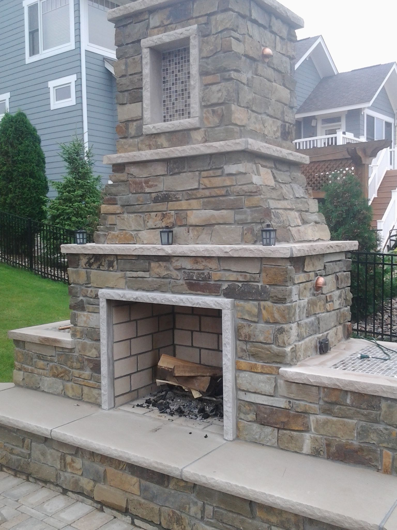 Outdoor Fireplace With Edwards Natural Stone And Limestone