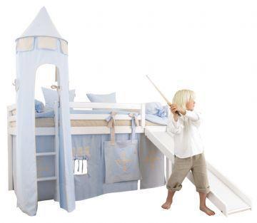 Hoppekids bäst pris eurotoys Bäddmått: 70x190. Sängen är en kombisäng med säng och kojstativ, vilket innebär att sängen även kan tas ner från kojstativet och användas som vanlig säng. Dansk design av Hoppekids. Sängens mått: H105 x B78 x L198cm, höjd ca 192cm inkl tornet, men bara 105cm exkl tornet. Tornets diameter är 45cm.