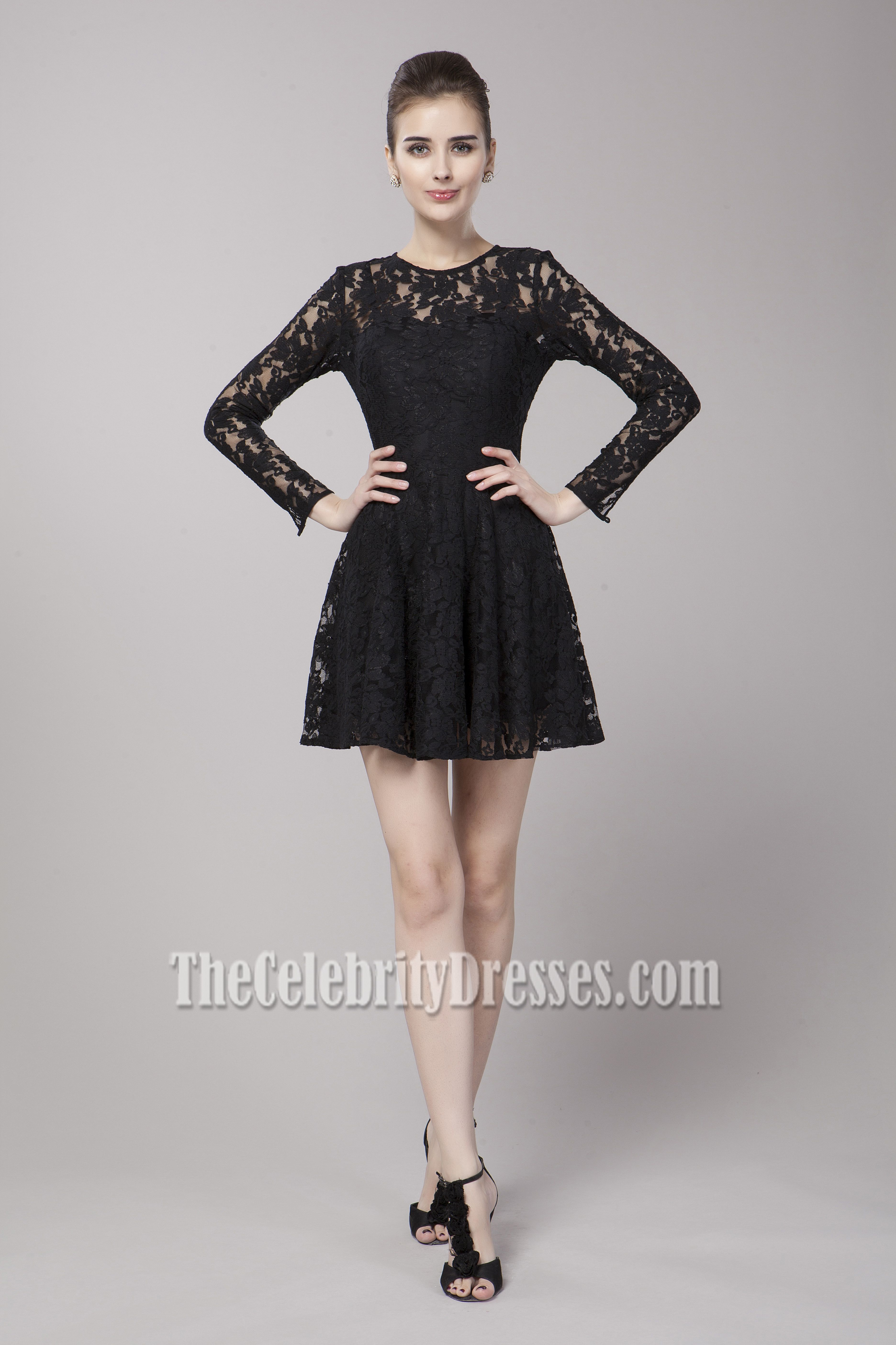 Black long sleeved laced skater dress this is me uc dream