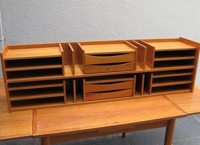 Mid Century Teak Desk Organizer Pedersen Hansen Denmark Danish
