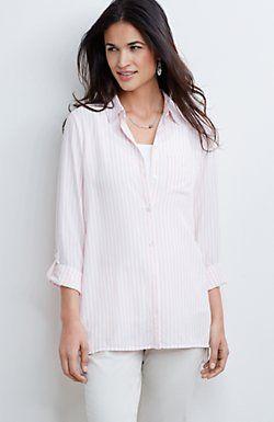 yarn-dyed striped rayon shirt from JJill