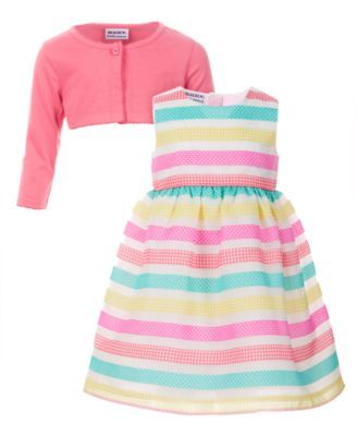 3cdffd1d Blueberi Boulevard Little Girls 2-Pc. Striped Dress & Cardigan Set - Yellow  6X