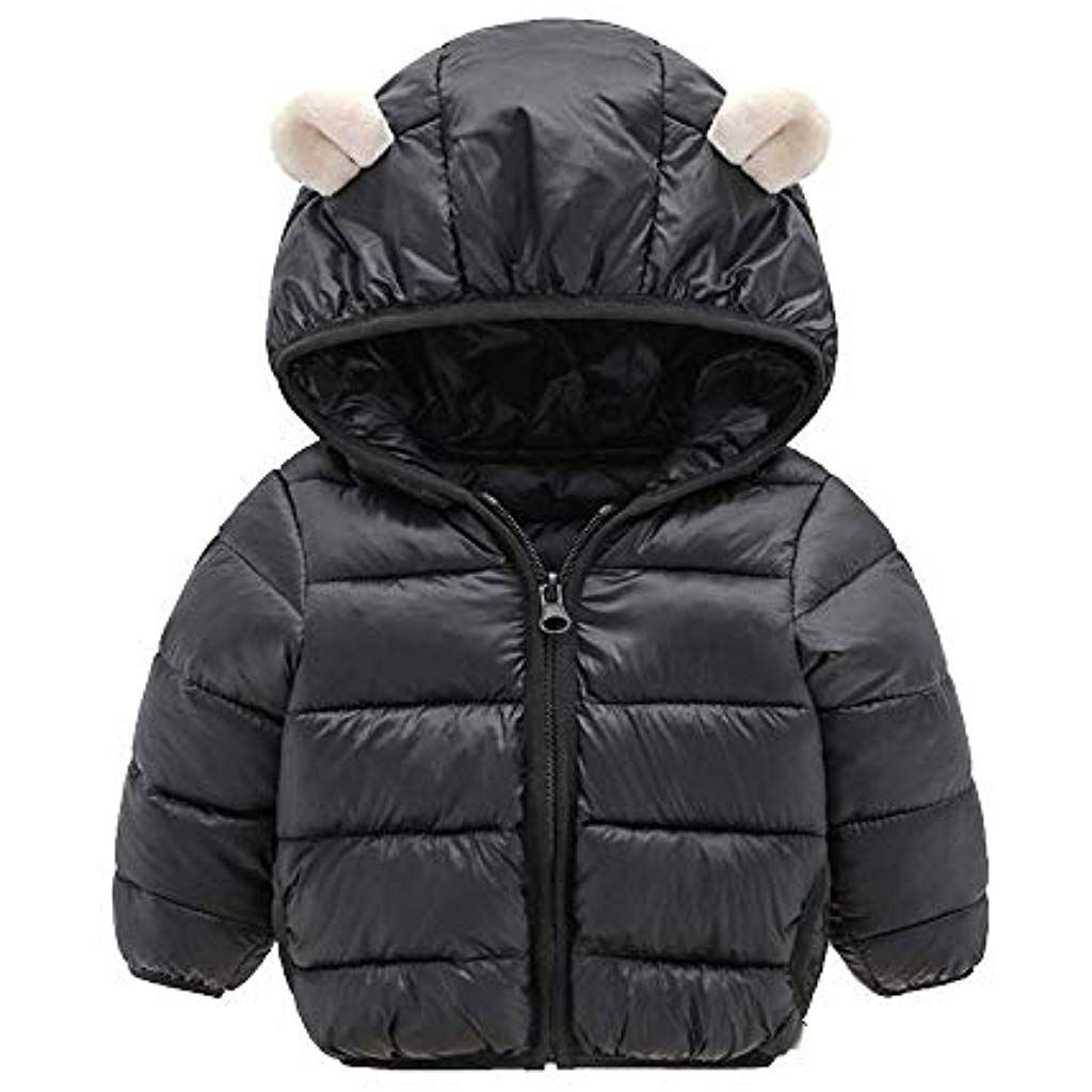 Toddler Kids Girls Boys Winter Warm Coats Jacket Zip Thick Snow Hoodie Outwear