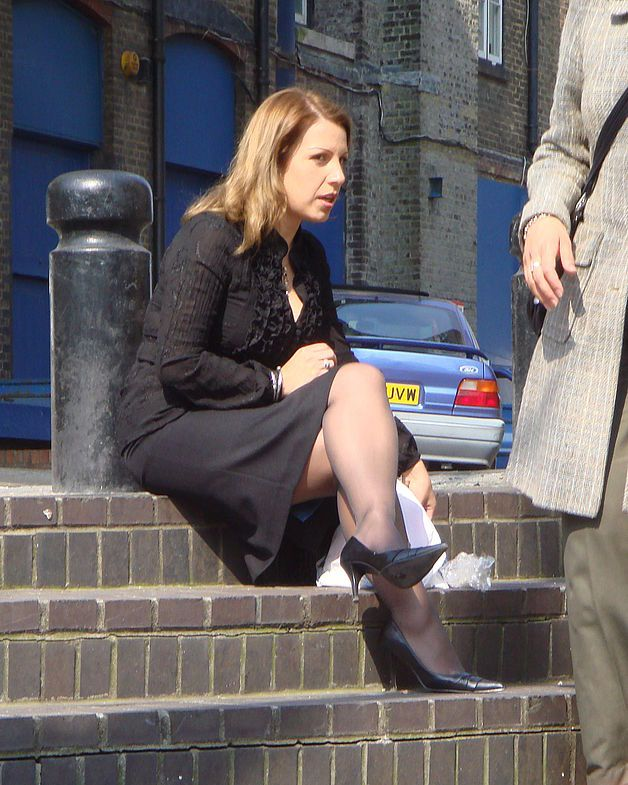 Mature walking in stockings candid legs