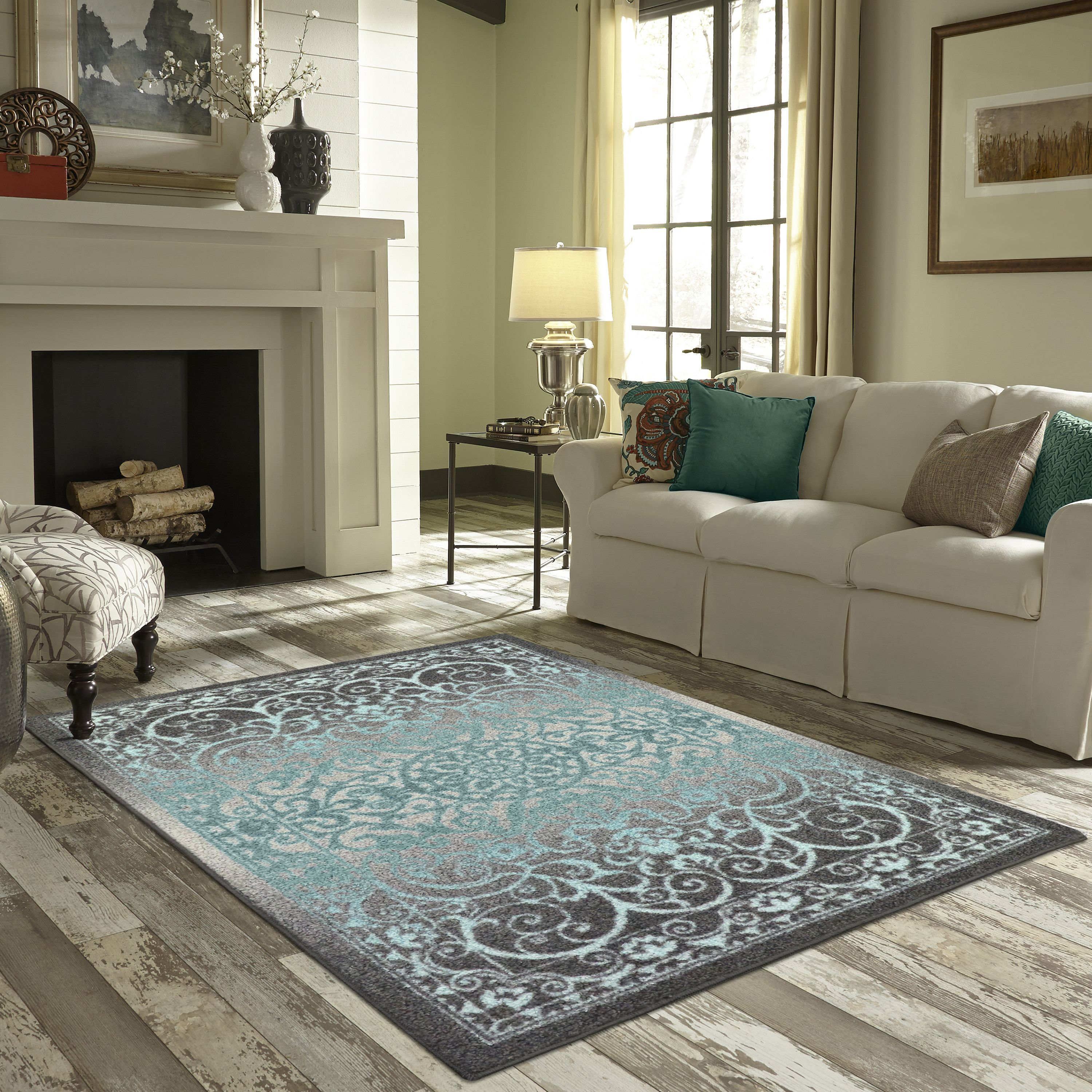 Mainstays india medallion textured print area rug and runner