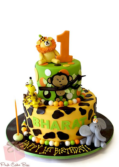 1st Birthday Jungle Party Cake Celebration Cakes Birthday Cakes