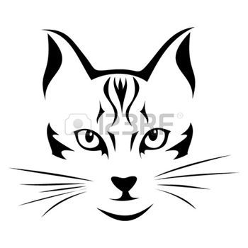 chat dessin noir et blanc Silhouette noire de chat Vector illustration