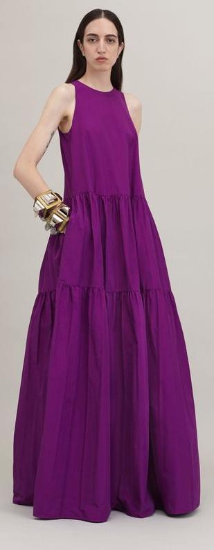Photo of abito misto viola in cotone stropicciato abito lungo viola senza maniche collo o moda
