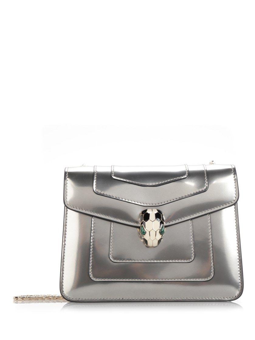 d5fc75f7280 BULGARI Silver Leather  Serpenti Forever  Falp Bag.  bulgari  bags   shoulder bags  leather  metallic