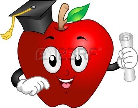 Dibujo animado manzana roja en la graduaci n con el diploma en la mano foto de archivo - Titulo manipulador alimentos ...
