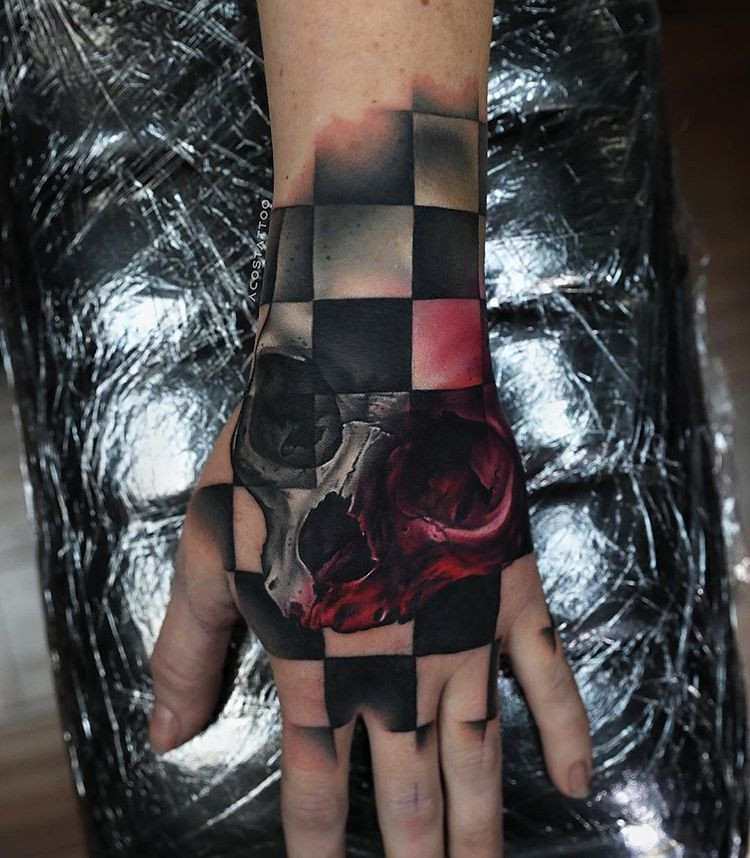 Realistic Inspiration Inkstinct In 2020 Hand Tattoos Tattoos Skull Tattoo
